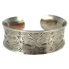 Vintage Oriental Silver Plate Cuff Bracelet Signed