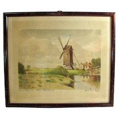 Vintage Windmill Watercolor Painting Signed Herbert Eilers Bremen Germany