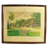 Vintage Thatched Cottage Watercolor Painting Signed Herbert Eilers Bremen Germany