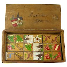 Vintage Set of Hand Painted Austrian Dominos