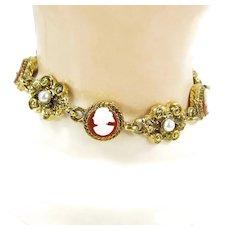 Vintage Art Jewelry Co. Cameo Faux Pearl Bracelet