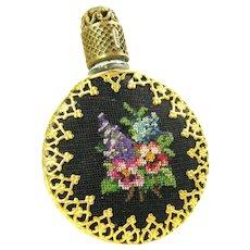 Vintage Austrian Brass Filigree Floral Petit Point Glass Perfume Bottle