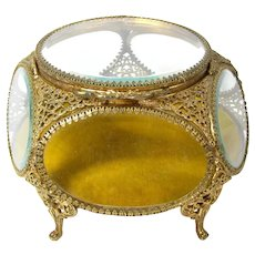 Vintage ORMOLU Beveled Glass Jewelry Casket Vanity Trinket Box