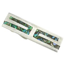 Vintage Mexican Sterling Tie Bar Inlaid Abalone Silver Tie Clip