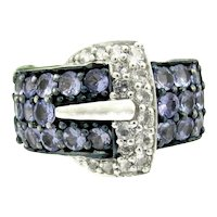 Gorgeous Sterling Tanzanite & Diamond Ring Buckle Design Size 7