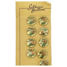 Vintage Japanese Satsuma Floral Button Lot of 9 Buttons Pottery Ceramic 23mm