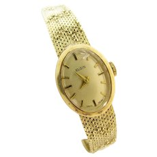 Vintage Elgin Ladies 14k Gold Wrist Watch & Band Beaded Design 21 Grams
