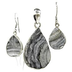 Vintage Conchine Agate Druzy Pendant & Earrings Mexico Sterling Silver