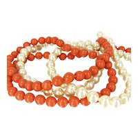Vintage Pop Beads Orange and Faux Pearl Necklace Pair