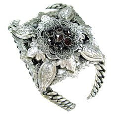 Vintage Edwardian Revival Bohemian Garnet Bracelet Silver Plate Floral