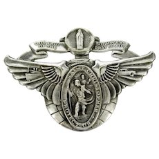 Vintage 900 Silver St. Christopher & Mary Medal Travel Badge Sterling Clip Car Boat Train