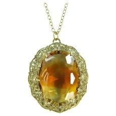 Vintage Large Amber Givre Rhinestone Pendant Beaded Gold Tone filigree Necklace