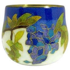 Vintage William Bill Chee Grape Vine Cloisonne Enamel Votive Candle Holder