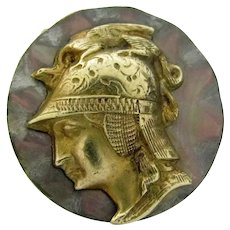 """Antique God Jupiter Brass On Carved Shell or Stone Round Button 5/8"""""""