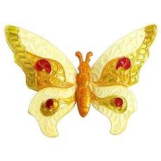 Yellow Enamel Metal Butterfly Pin Vintage Enameled Germany Brooch