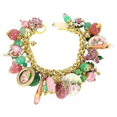 OOAK Artisan Chunky Charm Bracelet Vtg Pink Green Charms Enamel HP Cloisonne