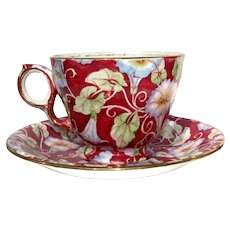 Vintage Royal Winton Burgundy Morning Glory Chintz Cup & Saucer