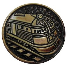 Vintage Buffed Celluloid Train Picture Button Modernistic Locomotive Transportation