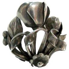Vintage Southwestern Style Rose Floral Sterling Ring Sz. 5 1/2