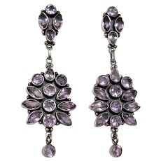Vintage Amethyst Sterling Silver Earrings Pierced Dangles Gemstone 2 3/4""