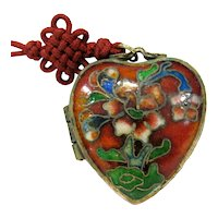 Antique Chinese Export Cloisonne Red Heart Floral Locket Pendant Red Silk Cord