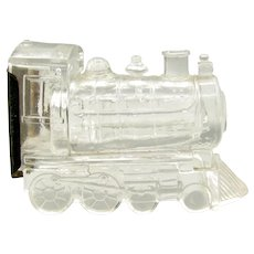 Vintage Train Engine Candy Container Glass Orig. Tin Litho Closure