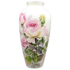 "Vintage Noritake Nippon Toki Kaisha Vase Hand Painted Roses Signed 8 3/4"""