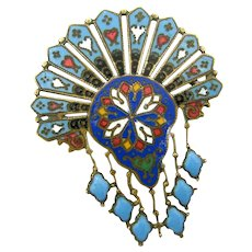 Antique French Cloisonne Champleve Enamel Pin Art Deco Brooch
