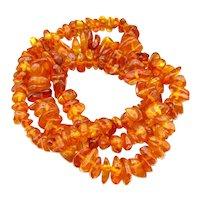 """Vintage Amber Nugget Bead Necklace 24"""" L Vintage"""