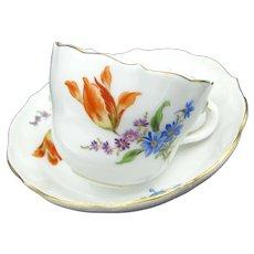 Vintage MEISSEN Floral Demi Cup & Saucer Lily Crossed Swords White Gold Trim