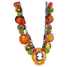 OOAK BAKELITE CHARM Necklace Cameo Beads Heart Lucite Celluloid Buttons