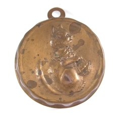 Vintage CAT with Basket Miniature Copper Mold Candy Chocolate Jello