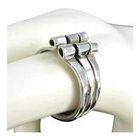 Vintage Modernist Curls Sterling Ring Rolled Ends Size 6.5