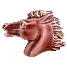 Vintage Pottery Horse Head Plaque Tile Like Pin Base