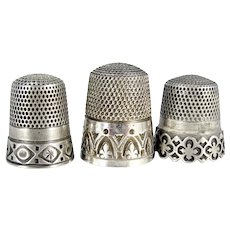 Vintage Sterling Thimble 3 Embossed Tooled Silver Thimbles