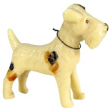 Vintage Celluloid Fox Terrier Dog Miniature Early Plastic Figure