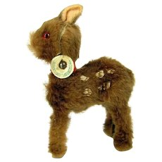 Vintage Original Fur Toys Fawn Baby Deer W. Germany Miniature Figure