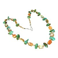 Vintage TURQUOISE NUGGET ABALONE Necklace Stone Bead Heishi Beads