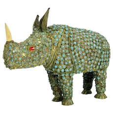 Vintage Chinese Tibetan Brass Rhinoceros Figure Inlaid Turquoise Coral Statue