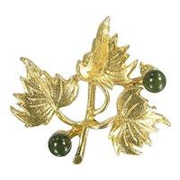 Vintage Hobe Leaves & Jade Berry Pin Gold Tone Designer Signed Brooch