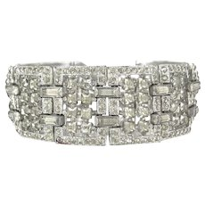 Vintage Art Deco Clear Rhinestone Bracelet Wedding Bridal Jewelry