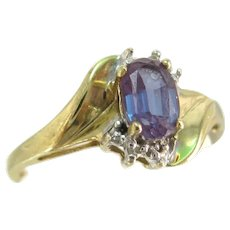 Vintage 10K Synthetic Created Alexandrite Diamond Ring Yellow Gold