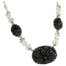 Vintage CZECH Black Rhinestone Floral Necklace Molded Glass Flowers Silver Tone