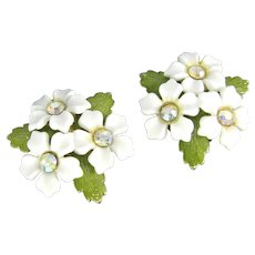 Vintage Coro Magic Flower Earrings Aurora Borealis Rhinestone Magnetic Back