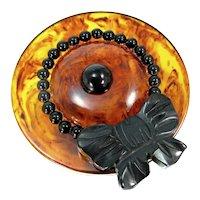 OOAK Bonnet Hat Pin Vintage Bakelite Assemblage Brooch