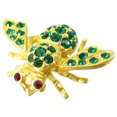 Vintage JOAN RIVERS BEE Pin Green Red Rhinestone Designer Signed Insect Brooch