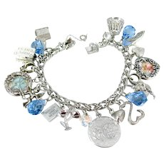 A Date To Remember Lang Sterling Charm Bracelet Vintage Silver Bridal Present 21 Charms