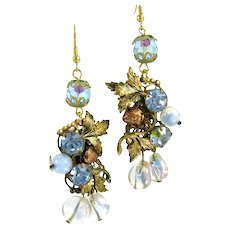 Gorgeous Blue Rhinestone Pierced Earrings OOAK Art Glass Antique Gold Tone Strawberry Findings