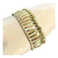 "Gorgeous Gold Vermeil Sterling Bracelet Open Column or Gate Design 7 5/8"""
