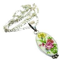 Fab Jacquelyn Smiley 950 Silver Floral Pendant Necklace JSVR Porcelain